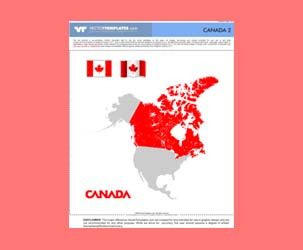 Vector Canadian flag and map of Canada
