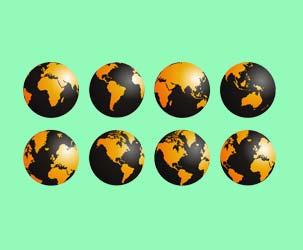 Orange and Black Globes