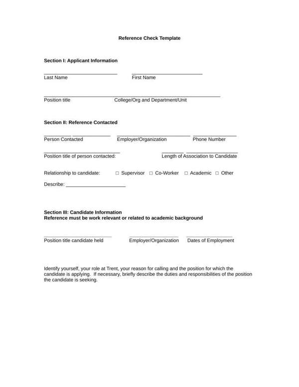 Blank reference check form