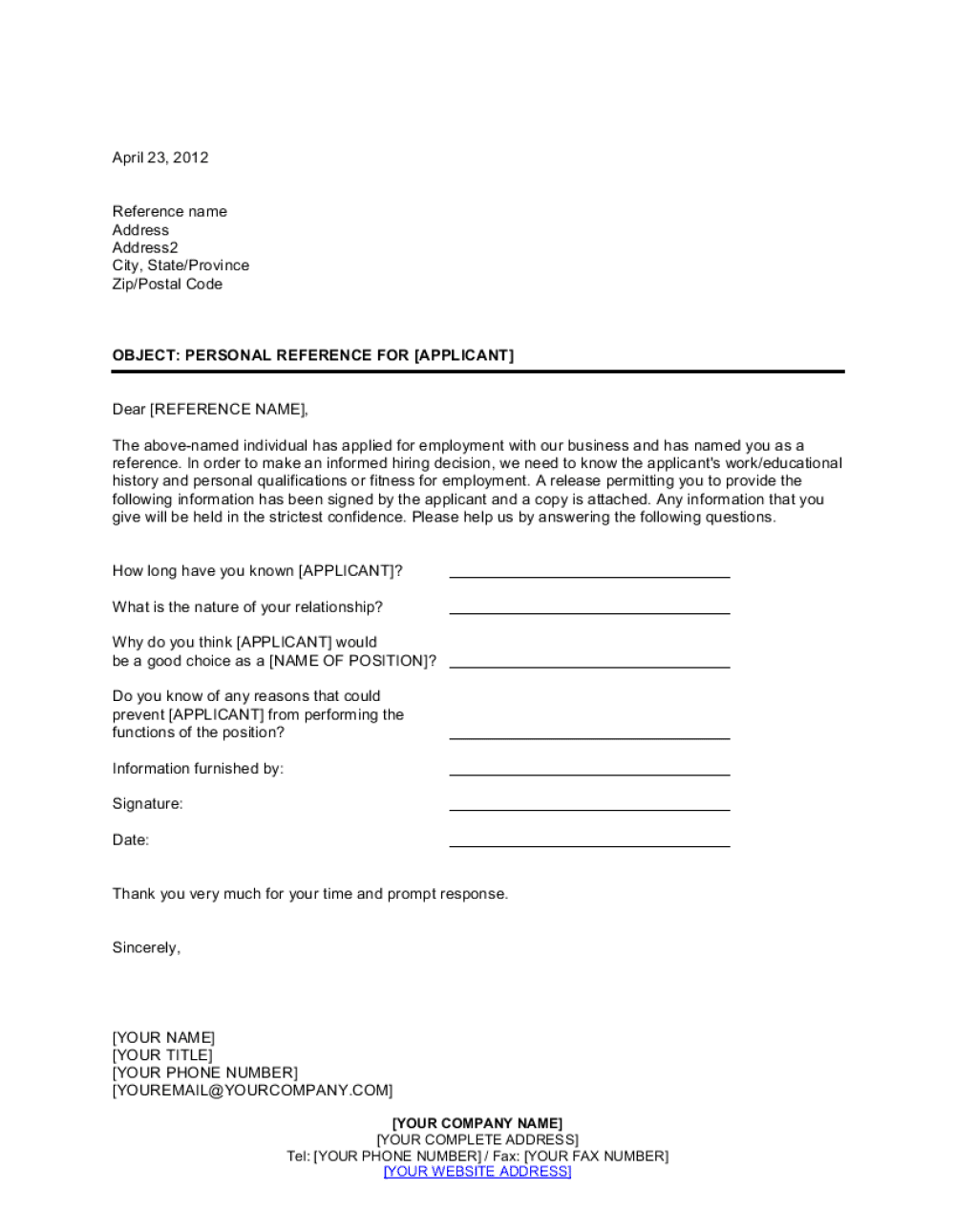 Personal Reference Check Letter Template