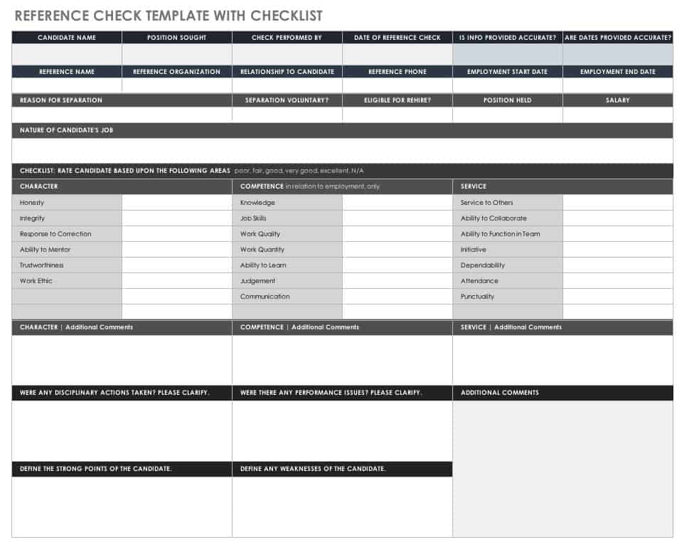 Reference check template with checklist