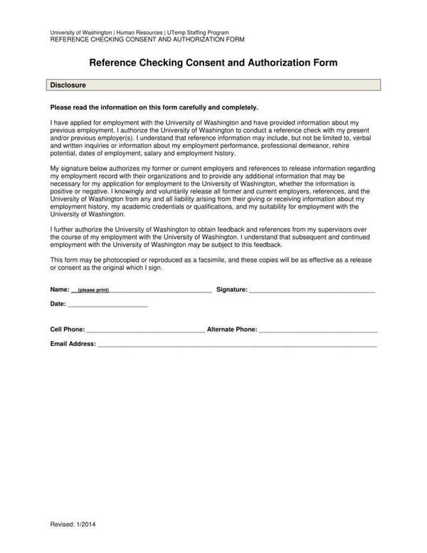 Reference checking consent authorization form
