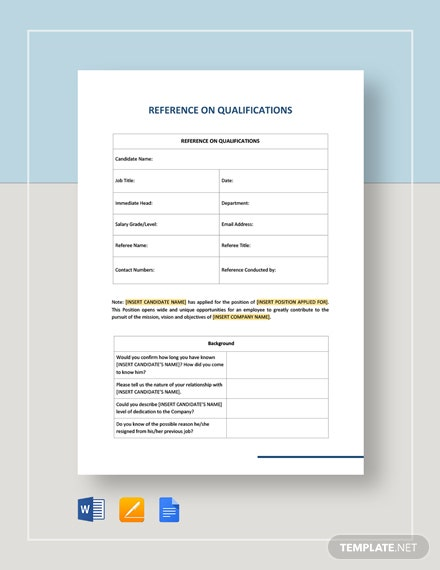 Reference on qualification template