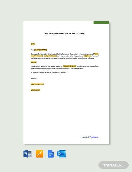Restaurant reference check letter template