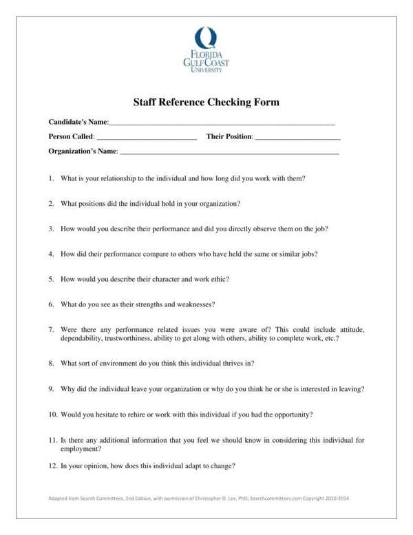 Staff reference checking form