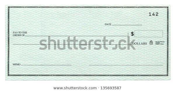 Blank Bank Checks With White Background