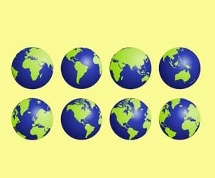 Blue and Green Globes
