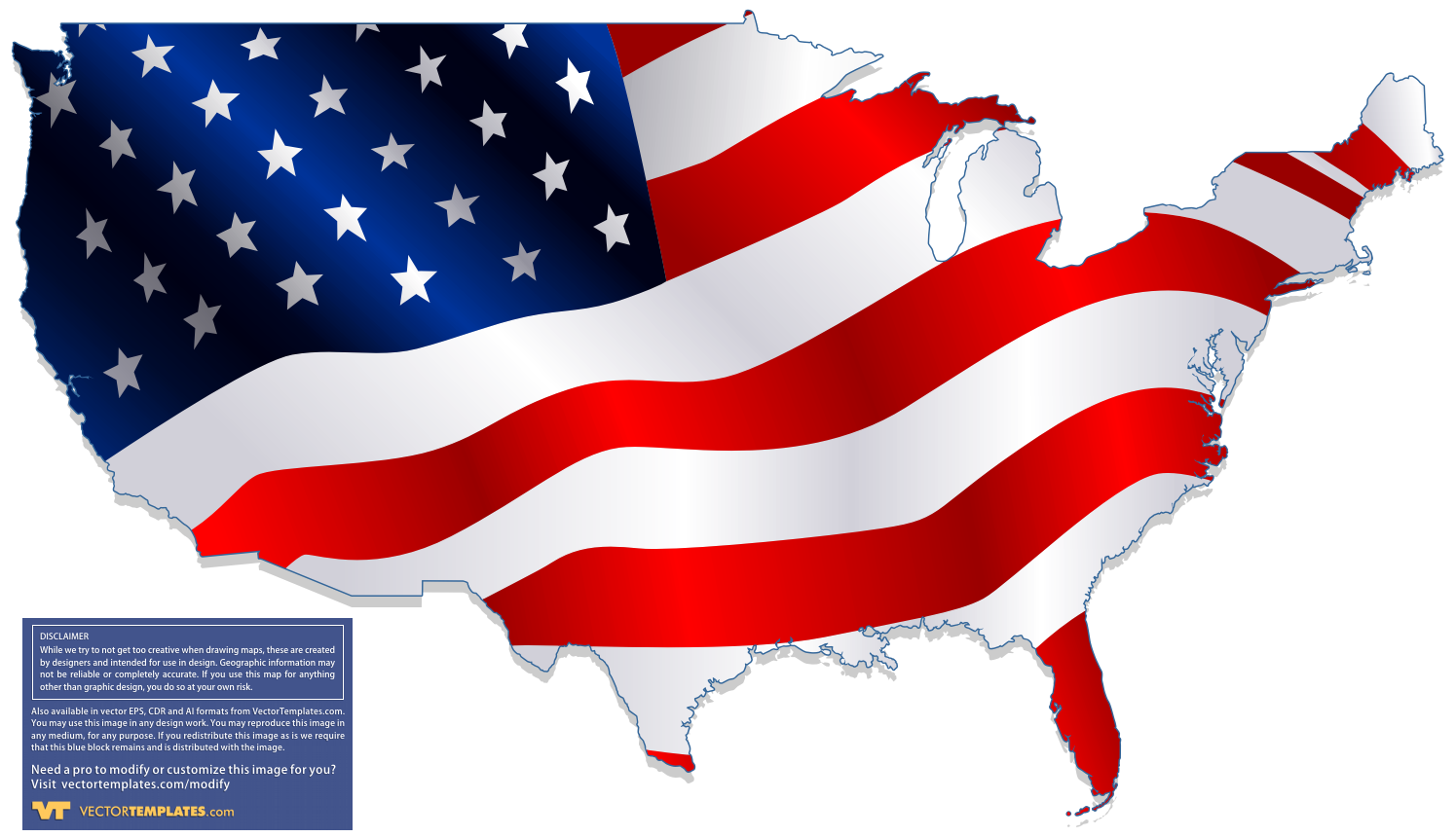 Map Of The USA Flag Fill - Free us map vector